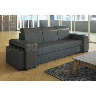 MARGO 4 sofa lova su miegama funkcija ir patalynes deze bei keturiais pufais DOT-95 + RIESCO-04